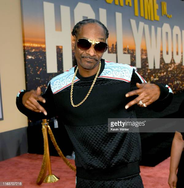 "Snoop Dogg arrives at the premiere of Sony Pictures' ""One Upon A Time...In Hollywood"" at the Chinese Theatre on July 22, 2019 in Hollywood,..."