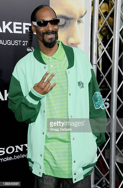 Snoop Dogg arrives at the World Premiere of Takers at the ArcLight Cinerama Dome on August 4 2010 in Hollywood California