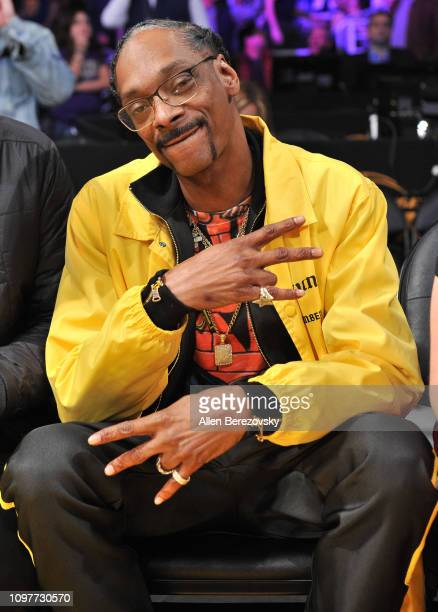 Snoop Dogg attends a basketball game between the Los Angeles Lakers and the Golden State Warriors at Staples Center on January 21 2019 in Los Angeles...