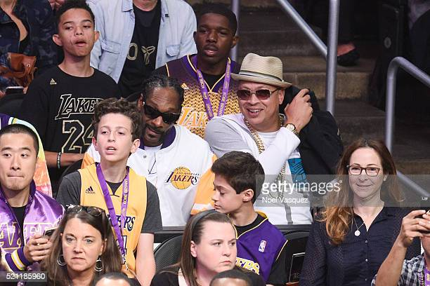 Snoop Dogg attends a basketball game between the Utah Jazz and the Los Angeles Lakers at Staples Center on April 13 2016 in Los Angeles California