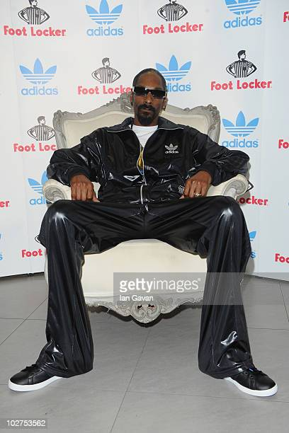 Snoop Dogg attends a Press conference for adidas at the Footlocker Oxford Street store on July 9 2010 in London England