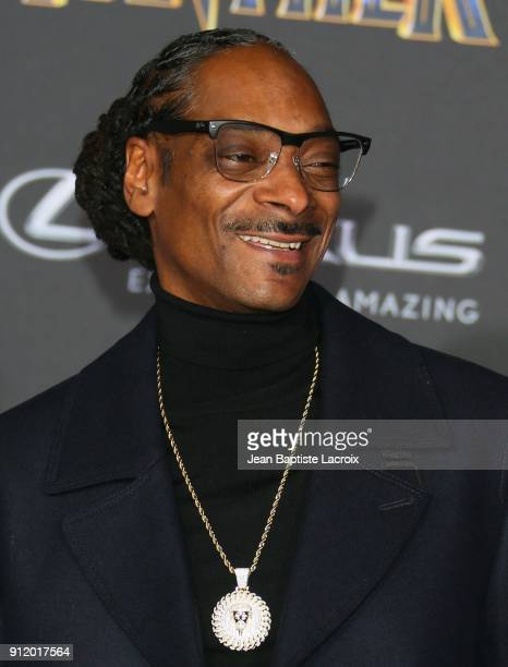 Snoop Dogg attends the premiere of Disney and Marvel's 'Black Panther' on January 28 2018 in Los Angeles California