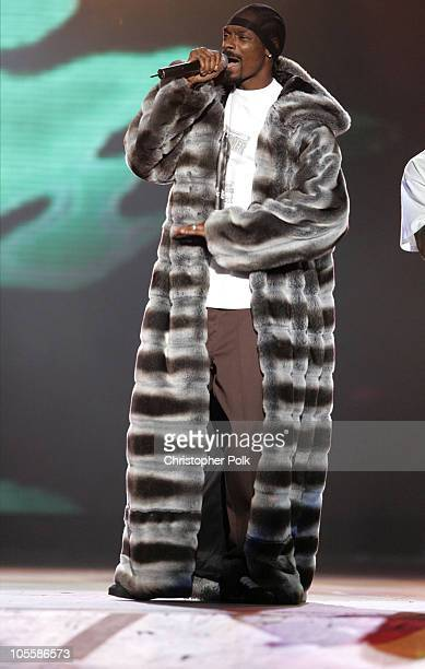 Snoop Dogg during Spike TV's 2nd Annual Video Game Awards 2004 Show Hosted by Snoop Dogg at Barker Hangar in Santa Monica California United States