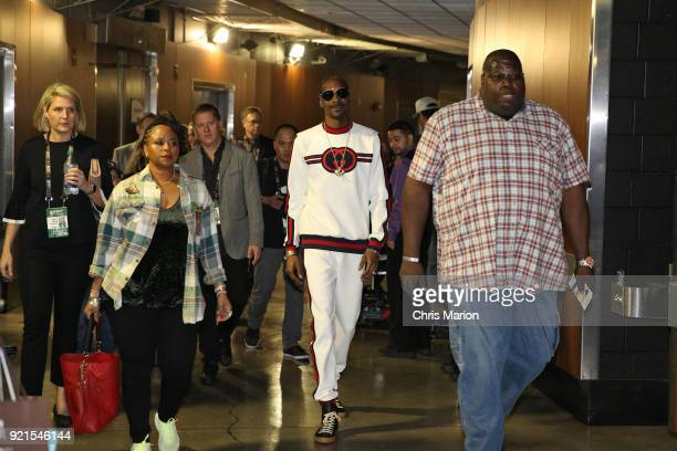 Snoop Dogg enters the arena during the NBA AllStar Game as a part of 2018 NBA AllStar Weekend at STAPLES Center on February 18 2018 in Los Angeles...