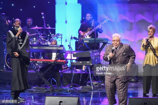Snoop Dogg Honoree Pastor Rance Allen and Jacky ClarkChisholm perform onstage during BET Presents 19th Annual Super Bowl Gospel Celebration at Bethel...