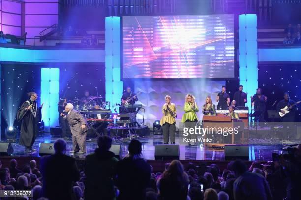 Snoop Dogg Honoree Pastor Rance Allen Jacky ClarkChisholm Dorinda ClarkCole Karen Clark Sheard Elbernita ClarkTerrell of The Clark Sisters onstage...