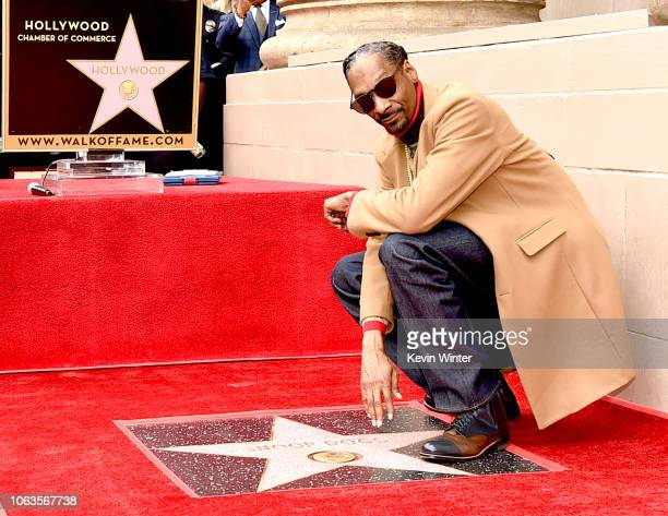 Snoop Dogg is honored with a star on The Hollywood Walk Of Fame on Hollywood Boulevard on November 19 2018 in Los Angeles California