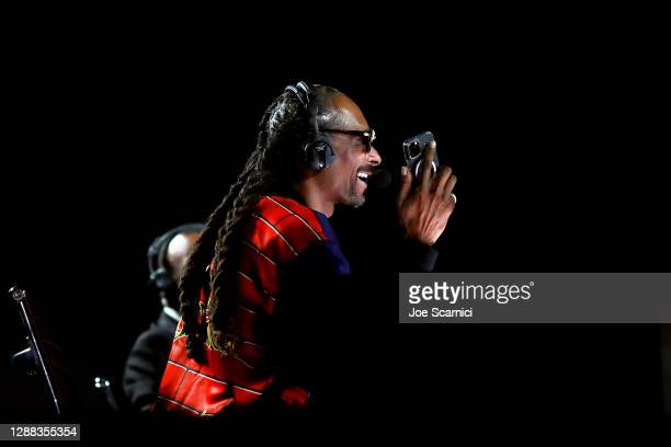Snoop Dogg is seen during Mike Tyson vs Roy Jones Jr. Presented by Triller at Staples Center on November 28, 2020 in Los Angeles, California.