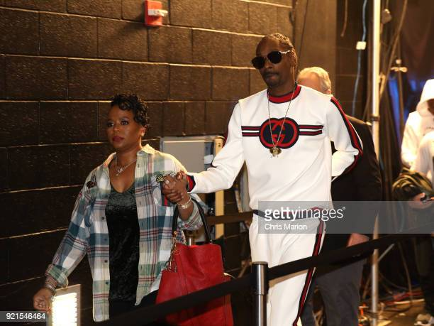Snoop Dogg is seen during the NBA AllStar Game as a part of 2018 NBA AllStar Weekend at STAPLES Center on February 18 2018 in Los Angeles California...
