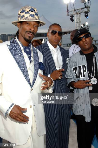 Snoop Dogg JayZ and Young Jeezy during 2005 MTV Video Music Awards Arrivals at American Airlines Arena in Miami Florida United States