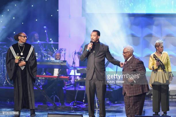 Snoop Dogg Kelechi Jaavaid Honoree Pastor Rance Allen and Jacky ClarkChisholm speak onstage during BET Presents 19th Annual Super Bowl Gospel...