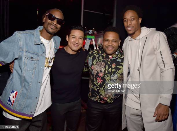 Snoop Dogg Mario Lopez Anthony Anderson and NBA player DeMar DeRozan of the Toronto Raptors attend the 2018 State Farm AllStar Saturday Night at...