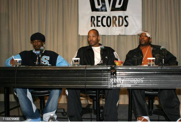 Snoop Dogg Nate Dogg and Warren G during Snoop Dogg Nate Dogg and Warren G 213 Press Conference at Millenium Hotel in New York City New York United...