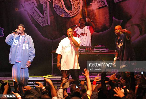 Snoop Dogg Nate Dogg and Warren G of 213 during Rock The Vote 2004 National Bus Tour Concert June 16 2004 at Avalon in Hollywood California United...