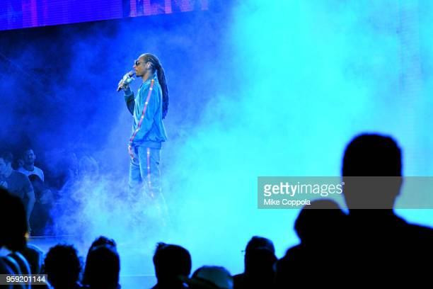 Snoop Dogg of TBS's Joker's Wild performs onstage during the Turner Upfront 2018 show at The Theater at Madison Square Garden on May 16 2018 in New...