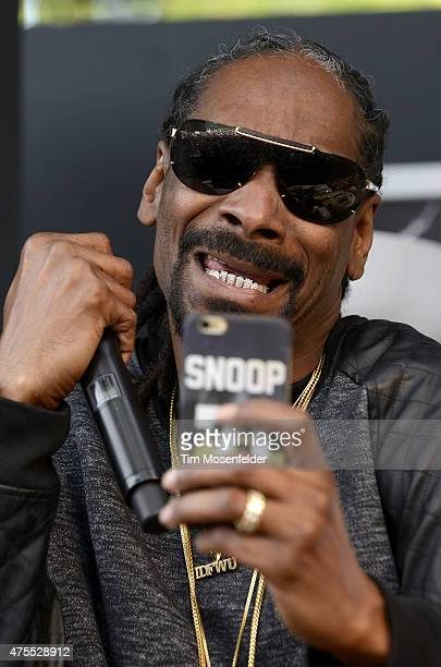 Snoop Dogg participates in a cooking demonstration during the Bottle Rock Napa Valley Music Festival at Napa Valley Expo on May 31 2015 in Napa...