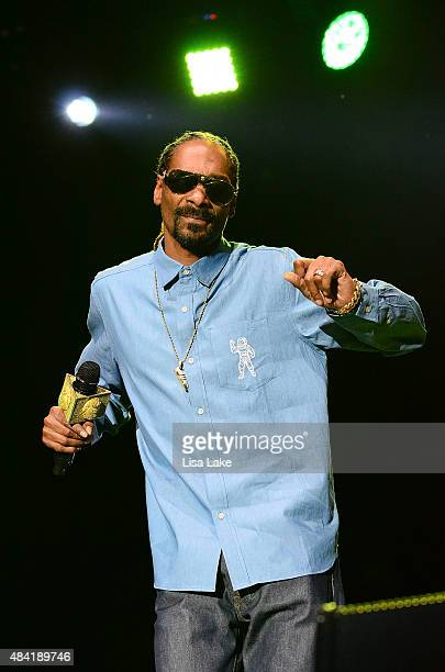 Snoop Dogg performs at Sands Steel Stage at PNC Plaza on August 15 2015 in Bethlehem Pennsylvania
