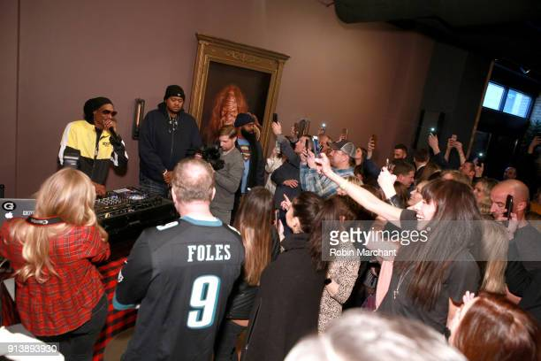 Snoop Dogg performs at the Jack Link's Legend Lounge to kickoff the protein snacking company's pre Super Bowl festivites on February 3 2018 in...