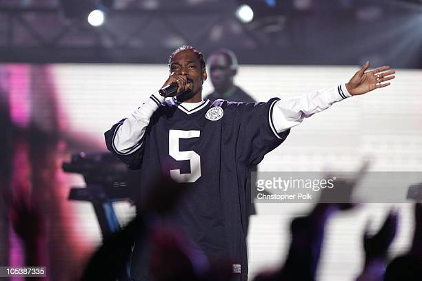 Snoop Dogg performs Let's Get Blown during Spike TV's 2nd Annual Video Game Awards 2004 Show Hosted by Snoop Dogg at Barker Hangar in Santa Monica...