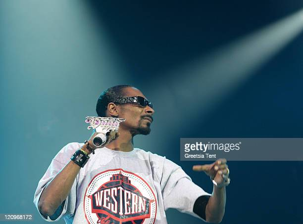 Snoop Dogg performs live on Day 3 of the Lowlands Festival on August 23, 2009 in Biddinghuizen, Netherlands.