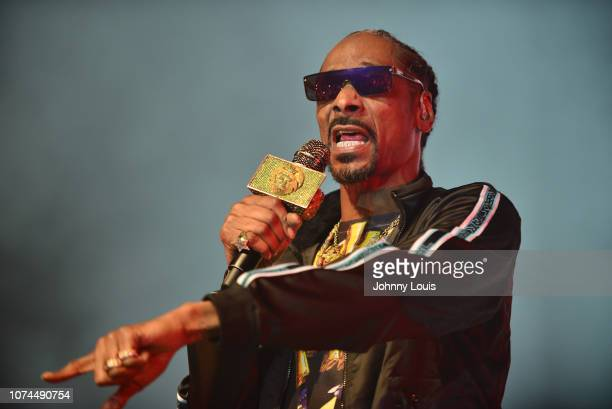 Snoop Dogg performs on stage at the Puff Puff Pass Tour at Hard Rock Event Center on December 20 2018 in Hollywood Florida