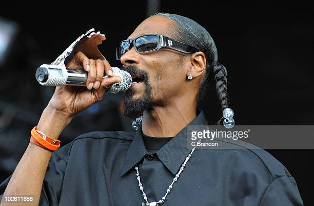 Snoop Dogg performs on stage during the second day of the Wireless Festival in Hyde Park on July 3 2010 in London England