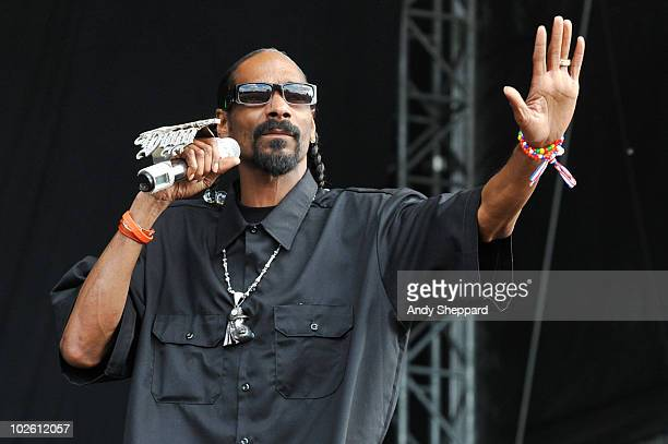 Snoop Dogg performs on stage during the second day of Wireless Festival 2010 in Hyde Park on July 3 2010 in London England