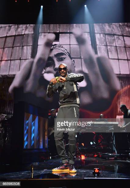 Snoop Dogg performs onstage during the 32nd Annual Rock Roll Hall Of Fame Induction Ceremony at Barclays Center on April 7 2017 in New York City The...