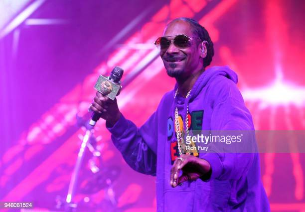 Snoop Dogg performs with Jamiroquai during the 2018 Coachella Valley Music And Arts Festival at the Empire Polo Field on April 13 2018 in Indio...