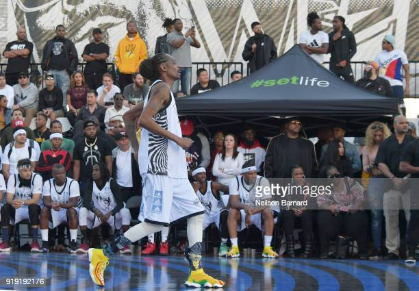 Snoop Dogg plays basketball during the East Vs West game at adidas Creates 747 Warehouse St an event in basketball culture on February 16 2018 in Los...
