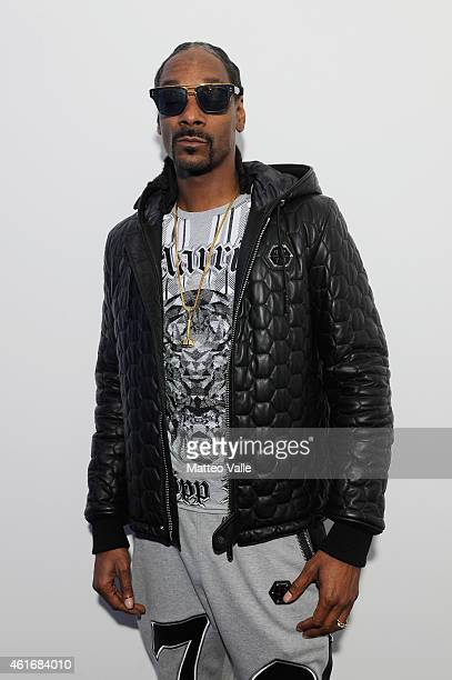 Snoop Dogg pose in backstage of the Philipp Plein Show as a part of Milan Menswear Fashion Week Fall Winter 2015/2016 on January 17 2015 in Milan...
