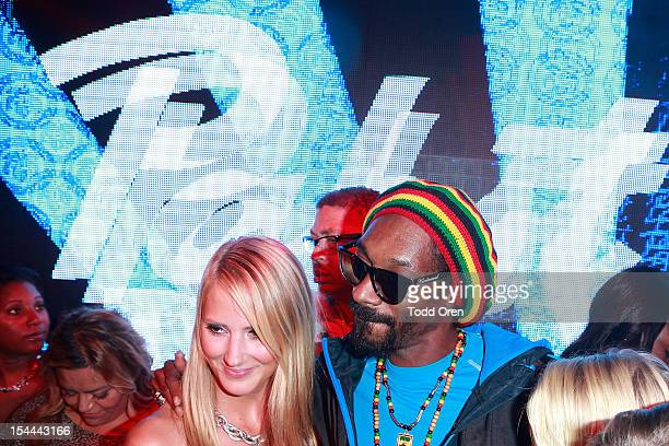 Snoop Dogg poses at the Snoop Dogg Presents Colt 45 Works Every Time at The Playboy Mansion Party with Evan and Daren Metropulos on October 19 2012...