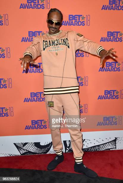 Snoop Dogg poses in the press room at the 2018 BET Awards at Microsoft Theater on June 24 2018 in Los Angeles California