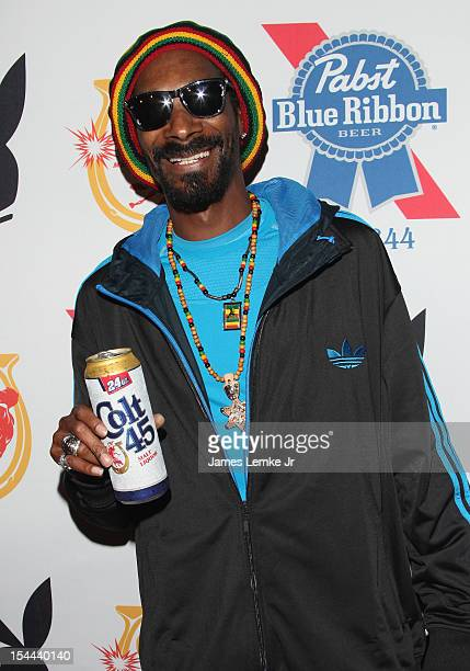 Snoop Dogg Presents Colt 45 'Works Every Time' mansion party with Evan and Daren Metropoulos at The Playboy Mansion on October 19 2012 in Beverly...