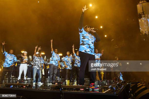 Snoop Dogg , Romeo Miller, Master P and Silkk The Shocker perform onstage at the 2017 Essence Festival at the Mercedes-Benz Superdome on July 2, 2017...