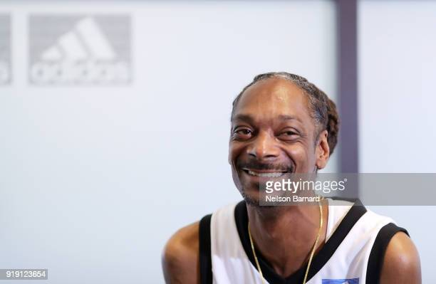 Snoop Dogg speaks during a press conference at adidas Creates 747 Warehouse St an event in basketball culture on February 16 2018 in Los Angeles...