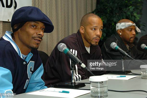 Snoop Dogg, Warren G and Nate Dogg during Snoop Dogg, Nate Dogg and Warren G Form Hip Hop Supergroup 213 at Millenium Hotel in New York City, New...