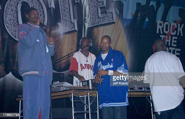 Snoop Dogg Warren G and Nate Dogg of 213 during Rock The Vote 2004 National Bus Tour Concert June 16 2004 at Avalon in Hollywood California United...