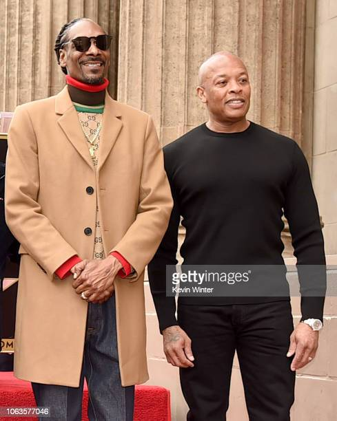 Snoop Dogg with Dr Dre is honored with a star on The Hollywood Walk Of Fame on Hollywood Boulevard on November 19 2018 in Los Angeles California