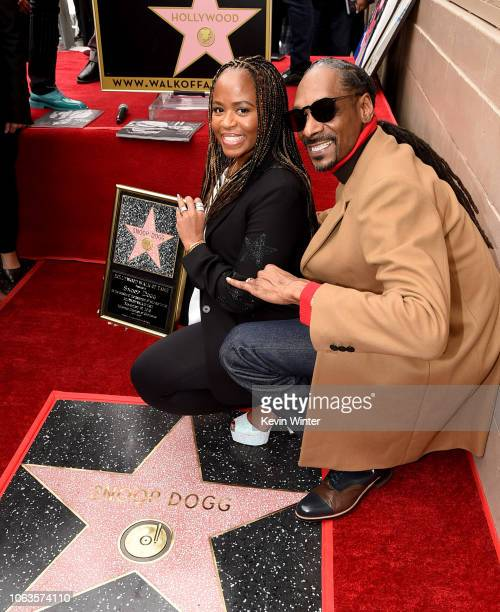 Snoop Dogg with his wife Shante Broadus is honored with a star on The Hollywood Walk Of Fame on Hollywood Boulevard on November 19 2018 in Los...