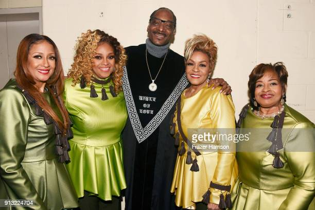 Snoop Dogg with Karen Clark Sheard Dorinda ClarkCole Jacky ClarkChisholm and Elbernita ClarkTerrell of The Clark Sisters at BET Presents 19th Annual...