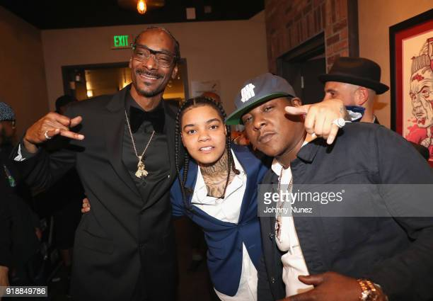 Snoop Dogg Young MA and Jadakiss attend the 2018 Global Spin Awards at The Novo by Microsoft on February 15 2018 in Los Angeles California