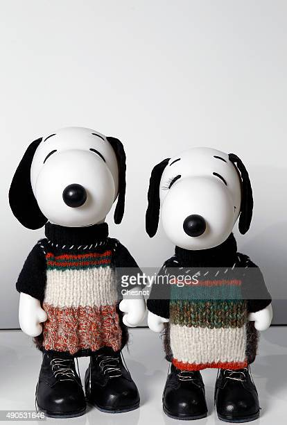 Snoopy and Belle dressed by Calvin Klein Collection are displayed during the 'Snoopy and Belle in fashion' exhibition at Palais de Tokyo on September...