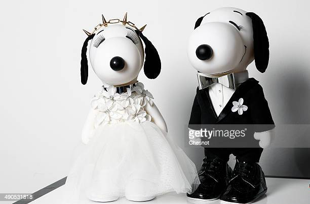 Snoopy and Belle dressed by Kaviar Gauche are displayed during the 'Snoopy and Belle in fashion' exhibition at Palais de Tokyo on September 29 2015...