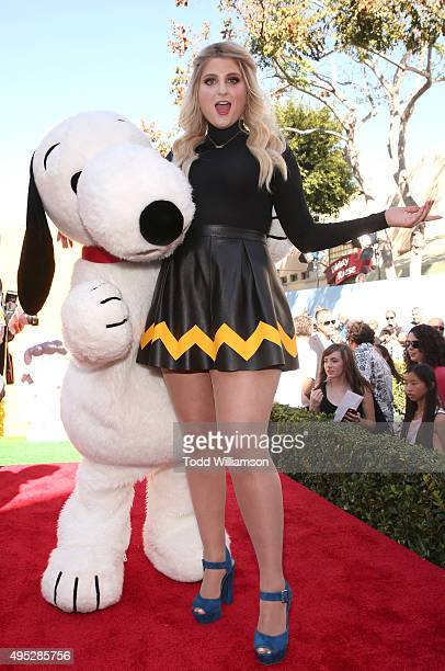 Snoopy and Meghan Trainor attend the premiere of 20th Century Fox's 'The Peanuts Movie' at Regency Village Theatre on November 1 2015 in Westwood...