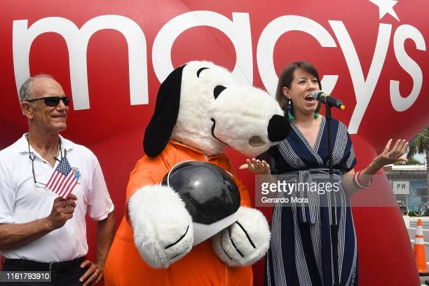 Snoopy and Susan Tercero executive producer of Macy's Thanksgiving Day Parade speaks during the announcement of the the New Astronaut Snoopy balloon...