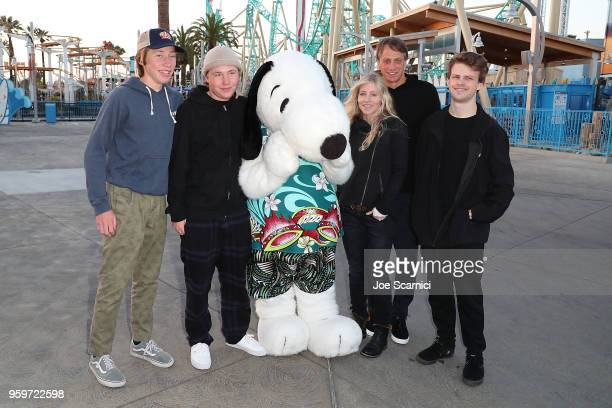 Snoopy and Tony Hawk with family attend the Knott's Berry Farm kick off preview party launching new dive coaster HangTime at Knott's Berry Farm on...