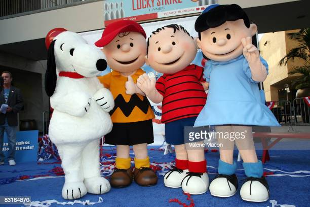 Snoopy Charlie Brown Linus and Lucy Van Pelt attend Warner Home Video's DVD Release of 'You're Not Elected Charlie Brown' October 7 2008 in Hollywood...