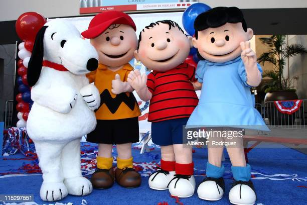 Snoopy Charlie Brown Linus Van Pelt and Lucy Van Pelt attend the DVD release for Warner Home Video's 'You're Not Elected Charlie Brown' held at the...