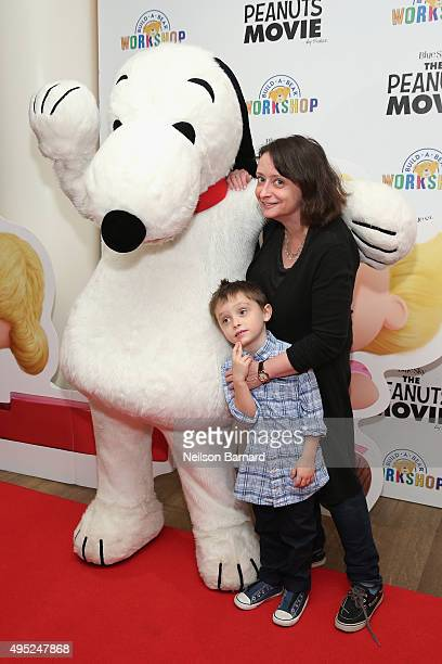 Snoopy Eli Benjamin Wahl and Rachel Dratch attend the Peanuts movie and BuildABear Workshop special screening at Crosby Street Hotel on November 1...